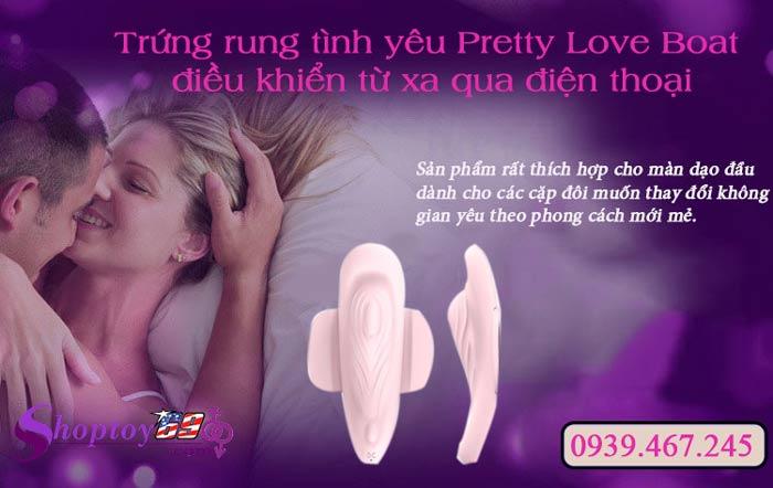 Trứng rung tình yêu Pretty Love Boat điều khiển từ xa qua điện thoại